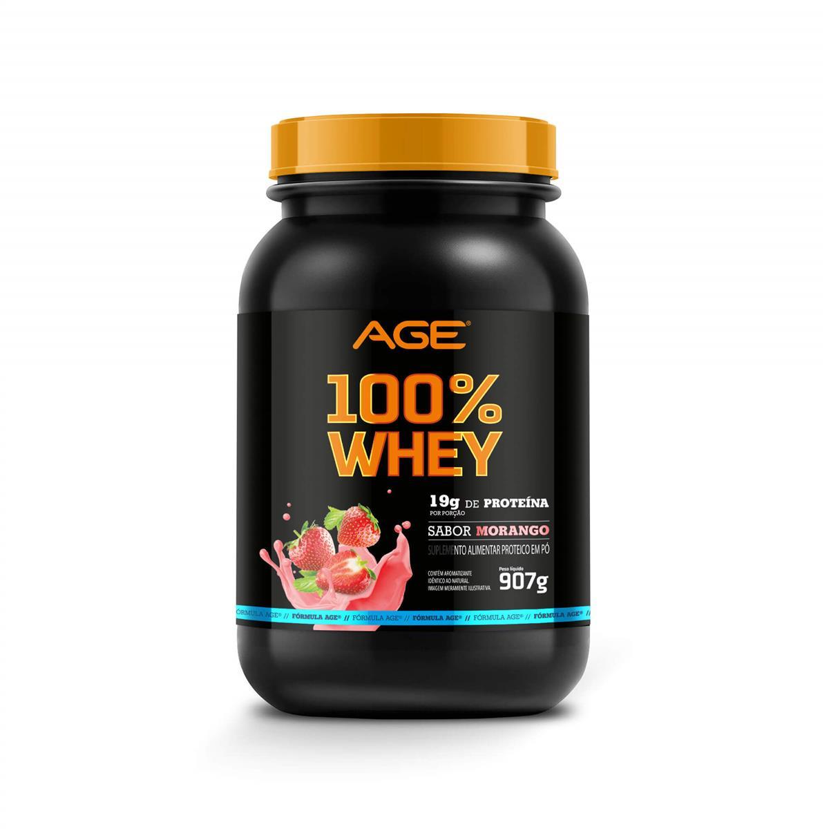 WHEY 100% PURE (907g) - Morango - AGE