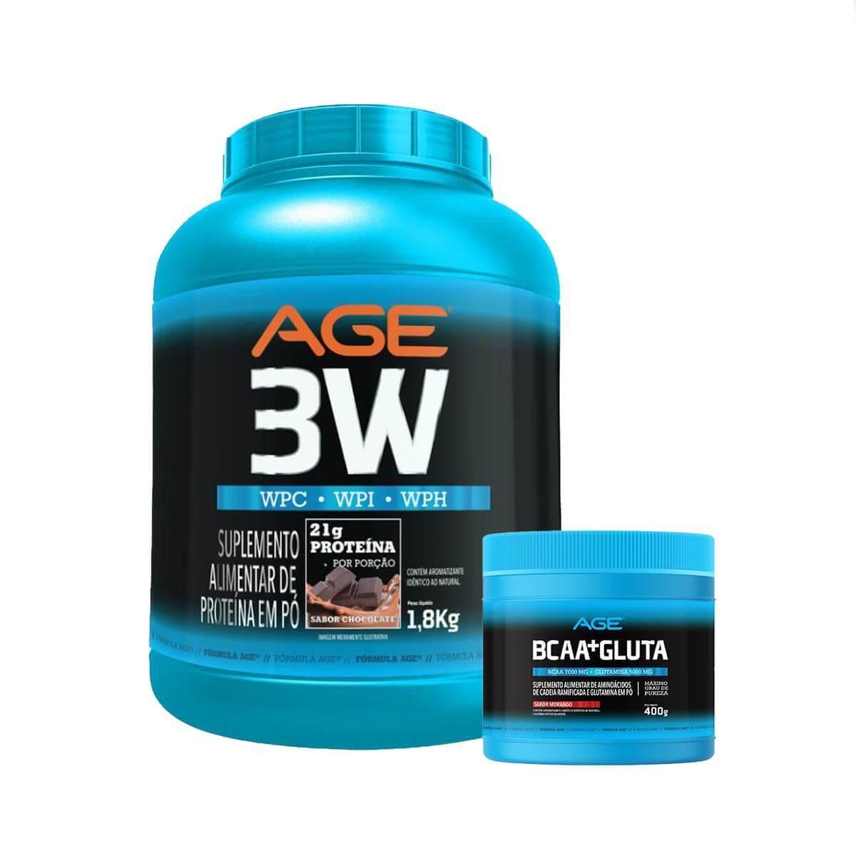 Whey 3W + BCAA e Glutamina (1,8Kg) - Chocolate - AGE