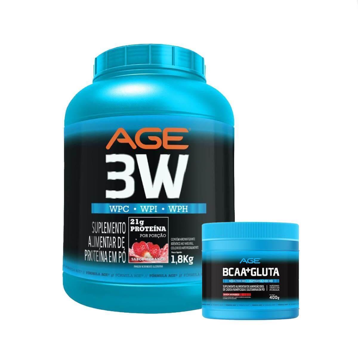 Whey 3W + BCAA e Glutamina (1,8Kg) - Morango - AGE